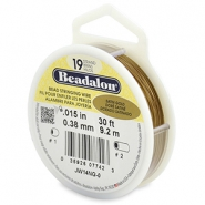 Beadalon stringing wire 19 strand 0.38mm doré satiné