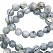 Perles coquillage rond 8mm black line Gris clair