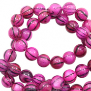Perles coquillage rond 6mm black line Rose violet