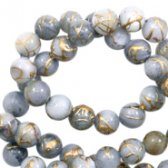 Perles coquillage rond 6mm gold line Gris clair