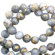 Perles coquillage rond 4mm gold line Gris clair