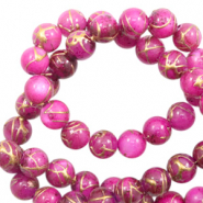 Perles coquillage rond 4mm gold line Rose violet