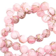 Perles coquillage rond 6mm gold line Rose clair
