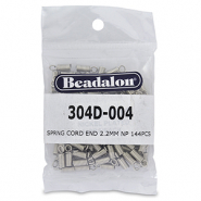 Beadalon spring cord end 2.2mm Argenté