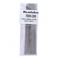 Beadalon twisted needle Asian heavy 50pcs Argenté