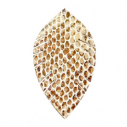 Pendentifs en simili cuir feuille medium serpent Beige-marron