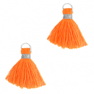 Pompons 1.5cm Argenté-Orange néon