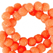 Perles scintillantes 8mm orange néon
