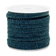 Cordon en denim plat 5mm bleu royal foncél